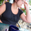 Woman having a coffee — Stock Photo