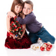 Cute little christmas couple — Stock Photo