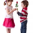 Giving a rose — Stock Photo