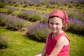 Girl in a lavender field — Stock Photo