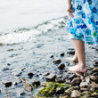 Girl walking in water — Stock Photo