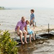 Family on a wharf — Stock Photo