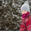 Young girl in the snow — Stock Photo