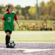 Girl at a soccer practice — Stock Photo