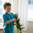 Boy building a Christmas tree — Stock Photo