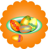 Easter eggs in a bowl, vector illustration — Stock Vector