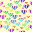 Colorful love heart in seamless background — Stock vektor