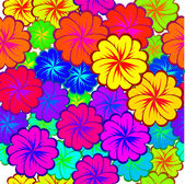 Seamless background with multicolored flowers — Stock Vector