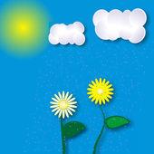 Paesaggio estivo con sole, nuvole e fiori — Vettoriale Stock