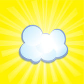 Blue cloud, the sun's rays in a circle, vector illustrations — Stock Vector