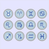 Set of buttons with icons zodiac signs — Stockvektor