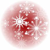 Copo de nieve sobre un fondo rojo en el círculo — Vector de stock