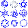 Different floral circles. Vector set. Decorative elements — Stock Vector