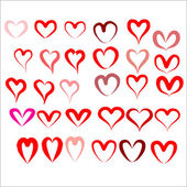 Set pattern with red hearts — Stock Vector