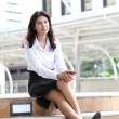 Portrait young business woman with her mobile smartphone — Stock Photo