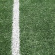 Photo of a green synthetic grass sports field with white line sh — Photo