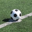 Soccer ball on white line in green grass — ストック写真