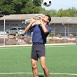 Soccer player juggle the ball with his head — Stock Photo #38328261