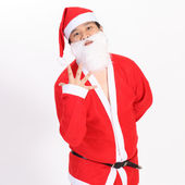 Santa Claus show five finger on overwhite background — Stock Photo