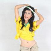 Half Portrait Beautiful woman with wearing Brazil football top — Stock Photo