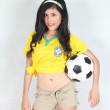 Portrait Beautiful woman hold ball with wearing Brazil football — Stock Photo