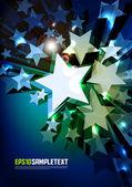 Vector 3D Vector Stars Glowing in the Dark — Stock Vector
