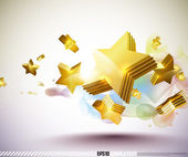 Vector Golden 3D Stars — Stock Vector