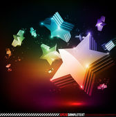 Vector 3D Stars Glowing in the Dark — Stock Vector