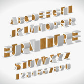 Vector Alphabet Shaped Furnitures — Stock Vector