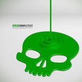 Cráneo vector goteando líquido venenoso — Vector de stock