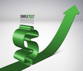 Vector 3D Arrow Moving Upward with Dollar Sign — Stock Vector