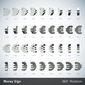 Vector Money Sign with 360 Degrees Rotation - Euro — Stock Vector