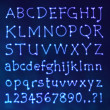 Stock vektor: Handwritten Vector Neon Light Alphabets