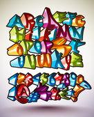Set of Vector Graffiti Alphabets — Stock Vector