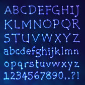 Handwritten Vector Neon Light Alphabets — Vettoriale Stock
