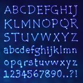 Ručně psané vektor neonové světlo abecedy — Stock vektor
