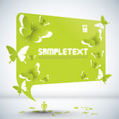 Vector Paper Sculpted Speech Bubble with Butterflies Cut-out Patterns — Stock Vector