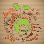 Vector Environmental Doodles on Brown Paper — Stock Vector