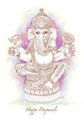 Vector Hand Drawn Hindu God Ganesh — Stock Vector