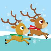 Snow deers — Stock Vector