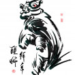 Ink Painting of Chinese Lion Dance  — Stock vektor