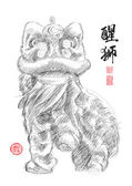 Sketch of Chinese Lion Dance — Stock Vector