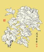 живописи тушью китайский пион — Cтоковый вектор