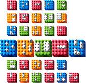 Interlock Bricks Alphabet — Stock Vector