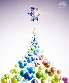 Vector Bubble Christmas Tree — Stock Vector