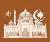 Vector Hand Drawn Mosque — Stock Vector