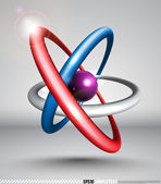 3D Vector Atom — Stock Vector