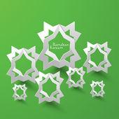 3D Muslim Pattern Paper Sculpture. — Stock Vector