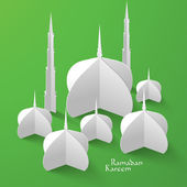 3D Mosque Paper Sculpture. — Stock Vector