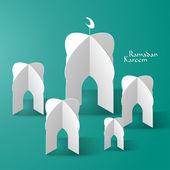 3D Mosque Paper Sculpture. — Stock Vector